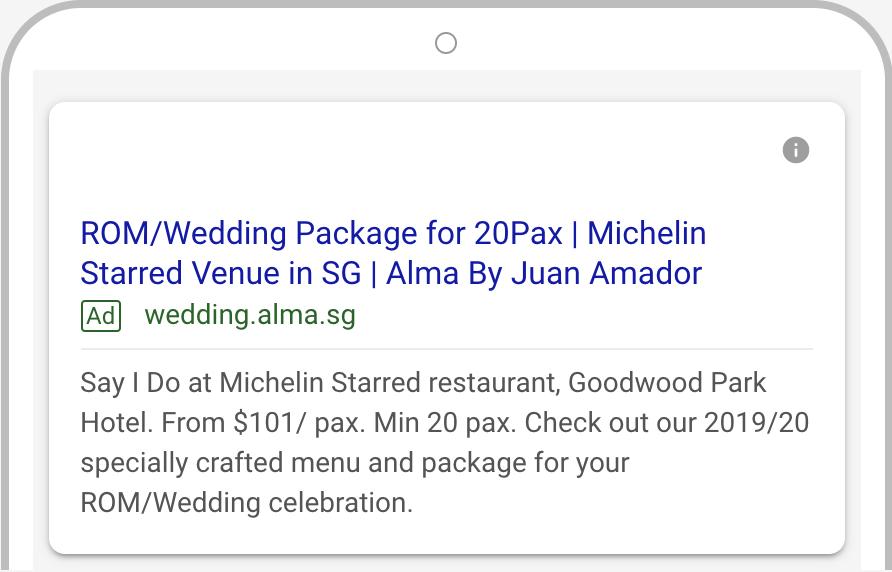 Alma wedding Google AdWords 1