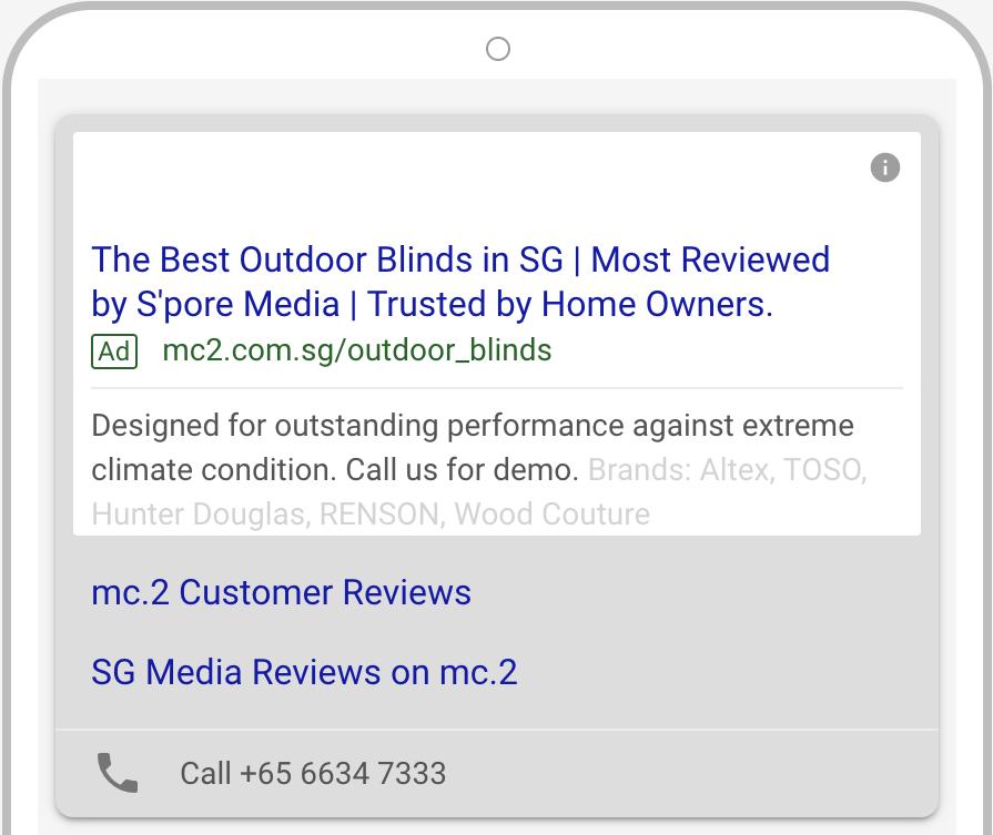 mc.2 Outdoor blinds Google Ads