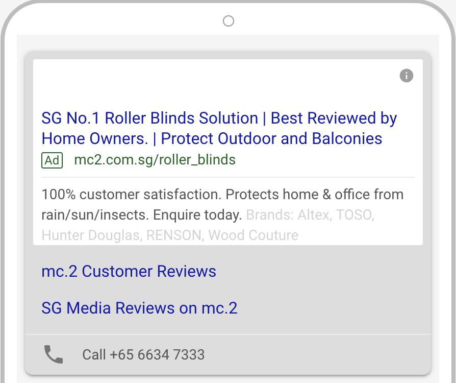 mc.2 Roller blinds Google Ads