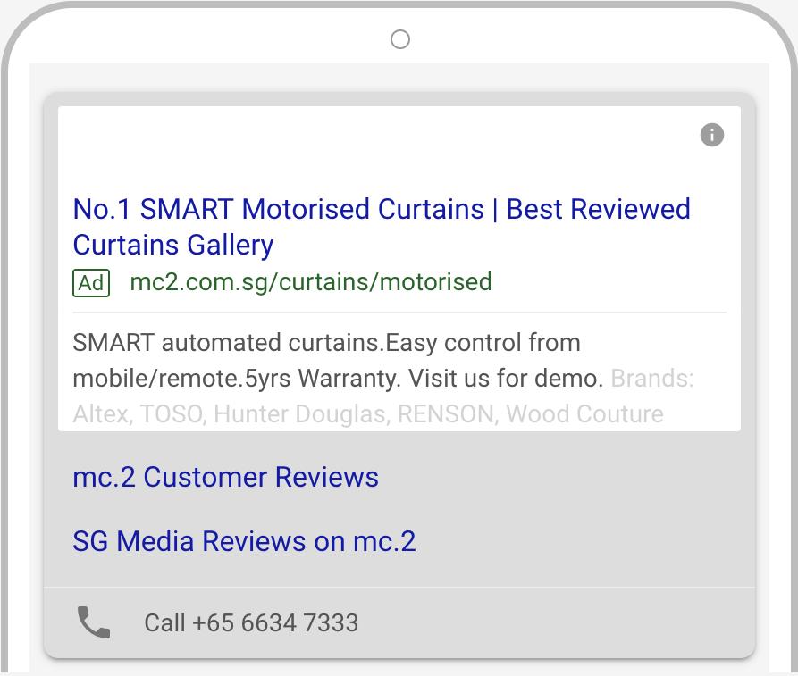 mc.2 Smart motorised blinds Google Ads