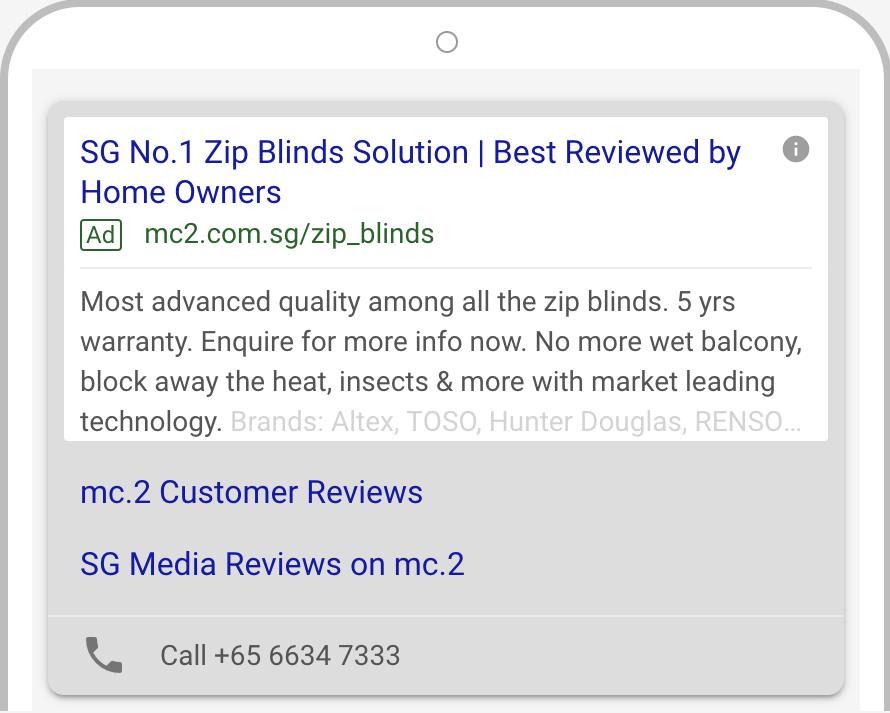 mc.2 zip blinds Google Ads