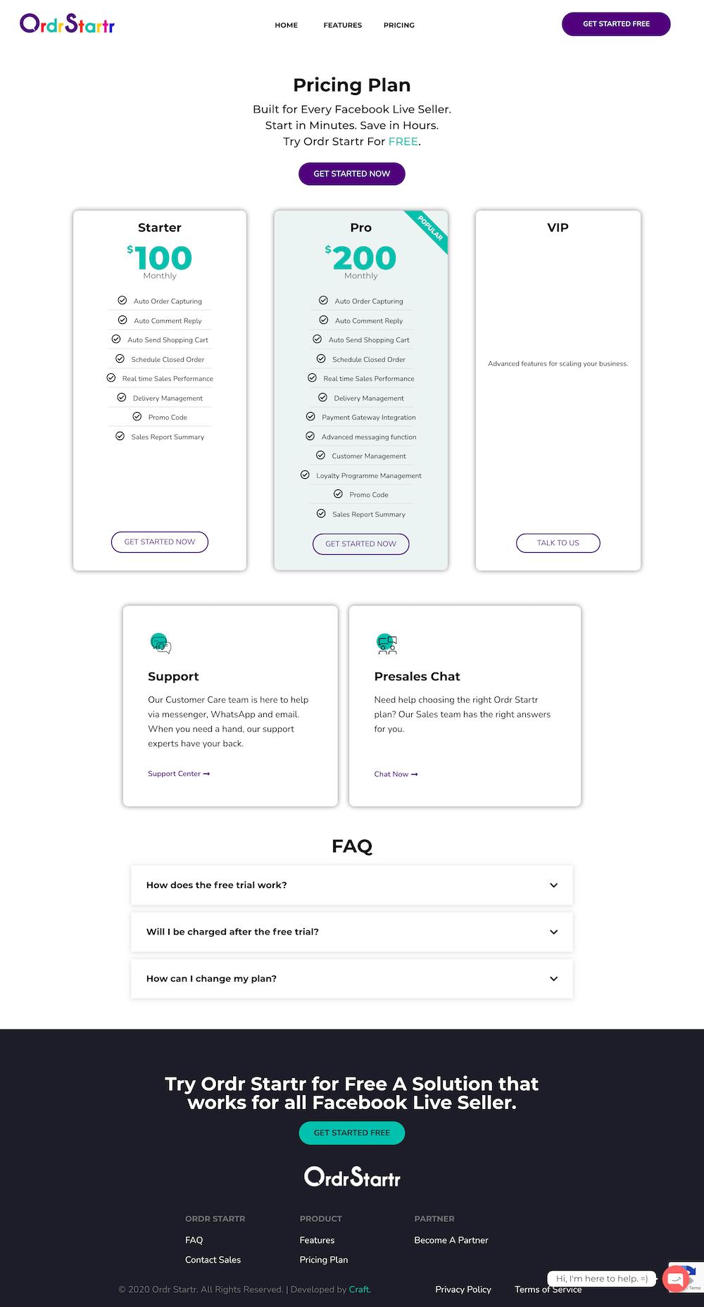 Ordr Startr Website